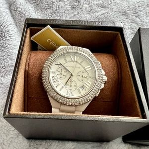 Michael Kors Blinged Out White Ceramic Watch